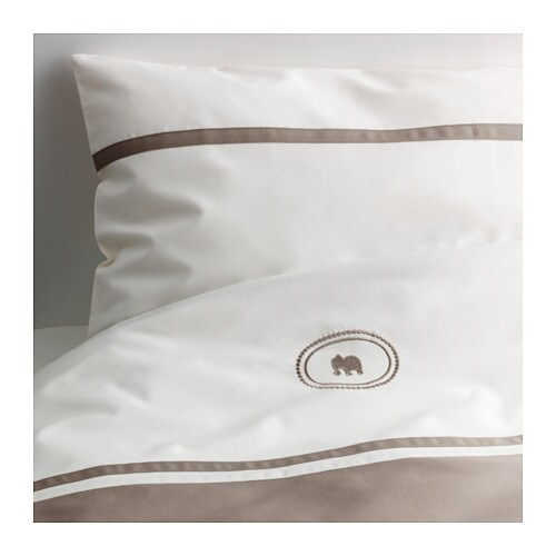 CHARMTROLL Quilt cover/pillowcase for cot, beige, white