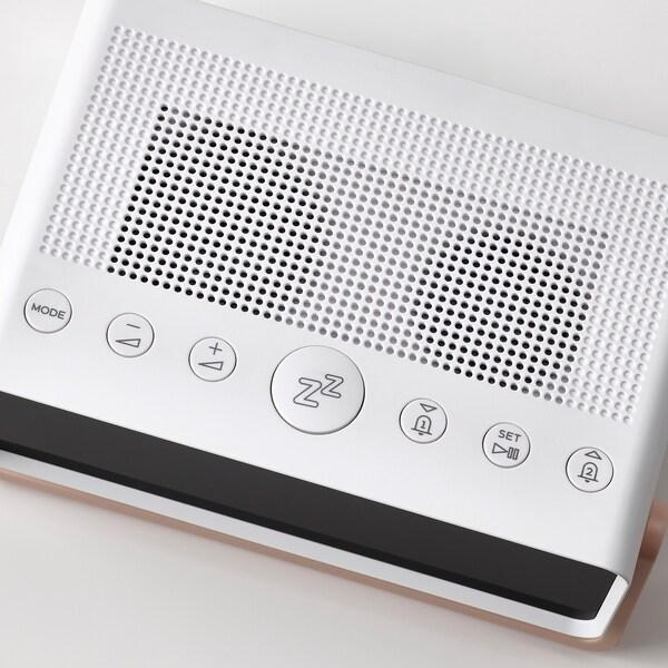 DÅNDIMPEN Alarm clock radio/bluetooth speaker, white/light pink, 16x5 cm
