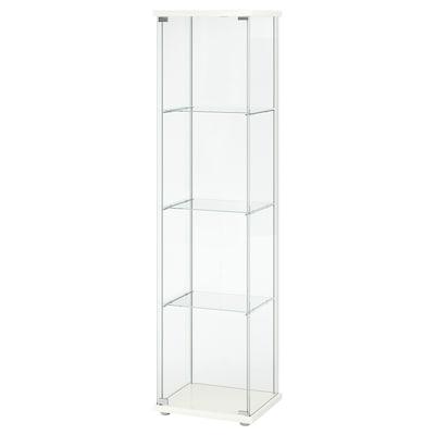 DETOLF وحدة تخزين بباب زجاج, أبيض, 43x163 سم