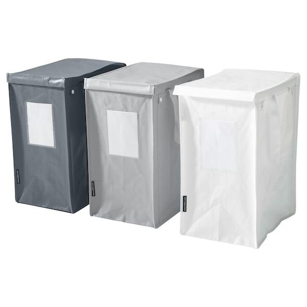 DIMPA كيس تصنيف النفايات, أبيض/رمادي غامق/رمادي فاتح, 22x35x45 سم/35 ل