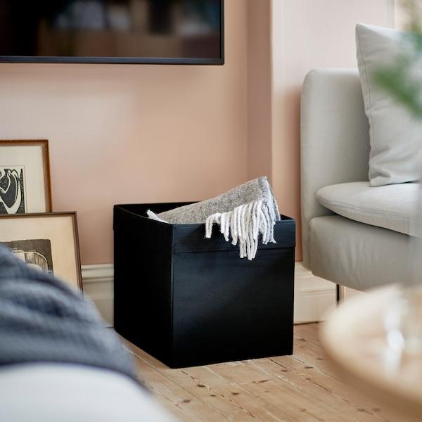 DRÖNA صندوق, أسود, 33x38x33 سم