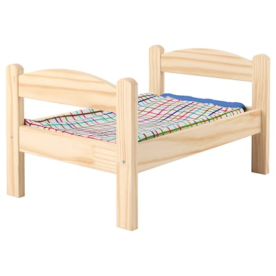 DUKTIG سرير الدمية بمجموعة شراشف, صنوبر/عدة ألوان