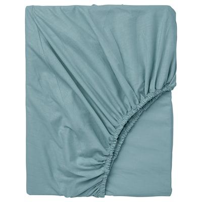 DVALA Fitted sheet, light blue, 180x200 cm
