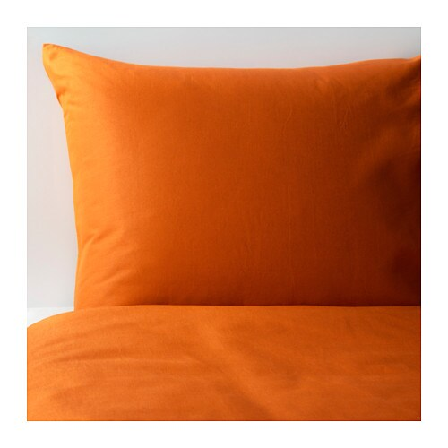 DVALA Quilt cover and pillowcase, orange