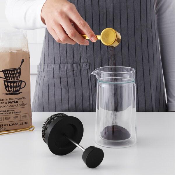 EGENTLIG محضّر القهوة/الشاي, طبقة مزدوجة/زجاج شفاف, 0.3 ل