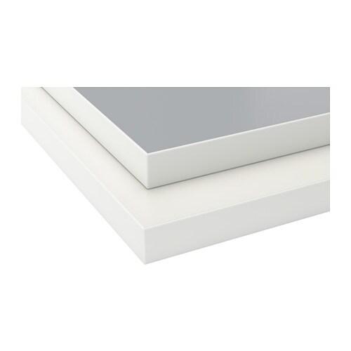 EKBACKEN Worktop, double-sided, light grey, white with white edge