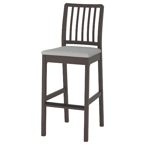 EKEDALEN bar stool with backrest dark brown/Orrsta light grey 110 kg 45 cm 52 cm 114 cm 45 cm 39 cm 75 cm