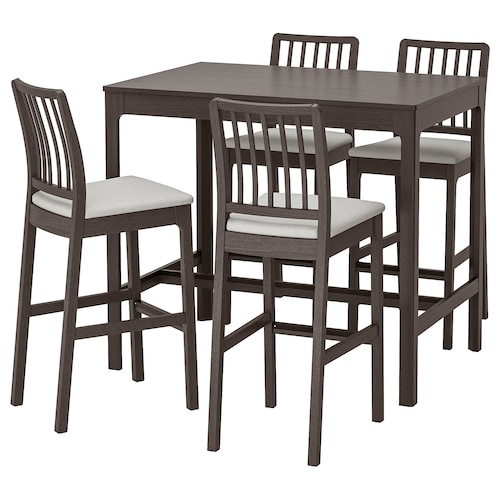 EKEDALEN / EKEDALEN bar table and 4 bar stools dark brown/Orrsta light grey