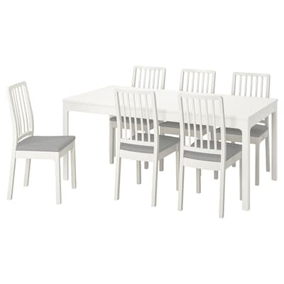 EKEDALEN / EKEDALEN طاولة و 6 كراسي, أبيض/Orrsta رمادي فاتح, 180/240 سم