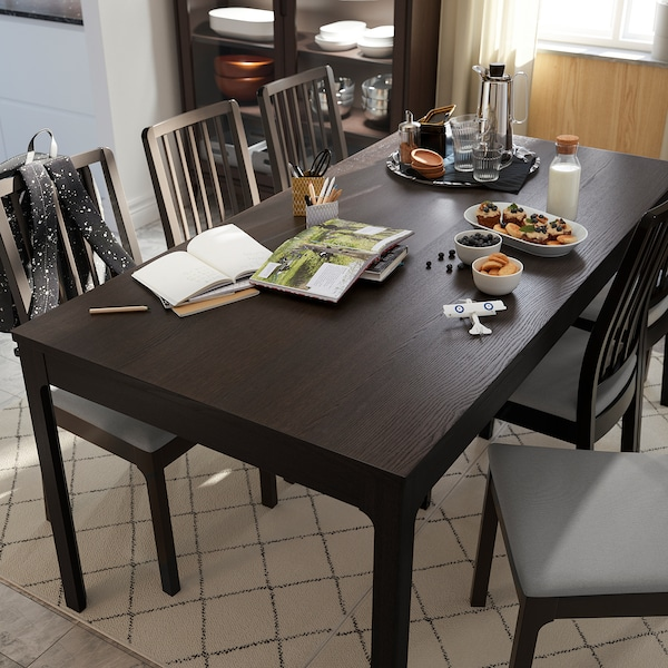 EKEDALEN Extendable table - dark brown - IKEA