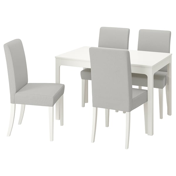 EKEDALEN / HENRIKSDAL Table and 4 chairs, white/Orrsta light grey, 120/180 cm
