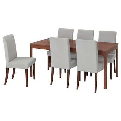 EKEDALEN / HENRIKSDAL Table and 6 chairs, brown/Orrsta light grey, 180/240 cm