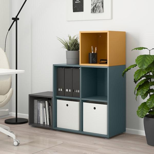 EKET Cabinet combination with feet, dark grey grey-turquoise/golden-brown, 105x35x107 cm