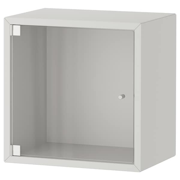 EKET وحدة تخزين حائط افقية مع باب زجاجي, رمادي فاتح, 35x25x35 سم