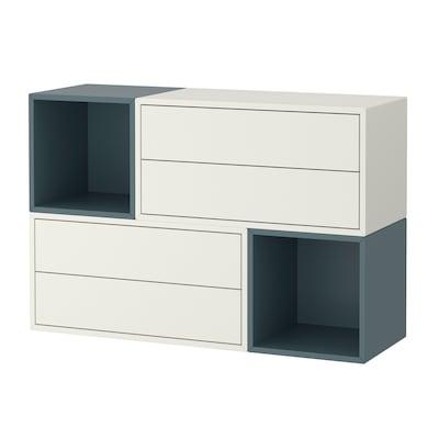 EKET Wall-mounted cabinet combination, white/grey-turquoise, 105x35x70 cm
