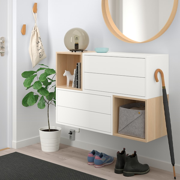 EKET Wall-mounted cabinet combination, white/white stained oak effect, 105x35x70 cm