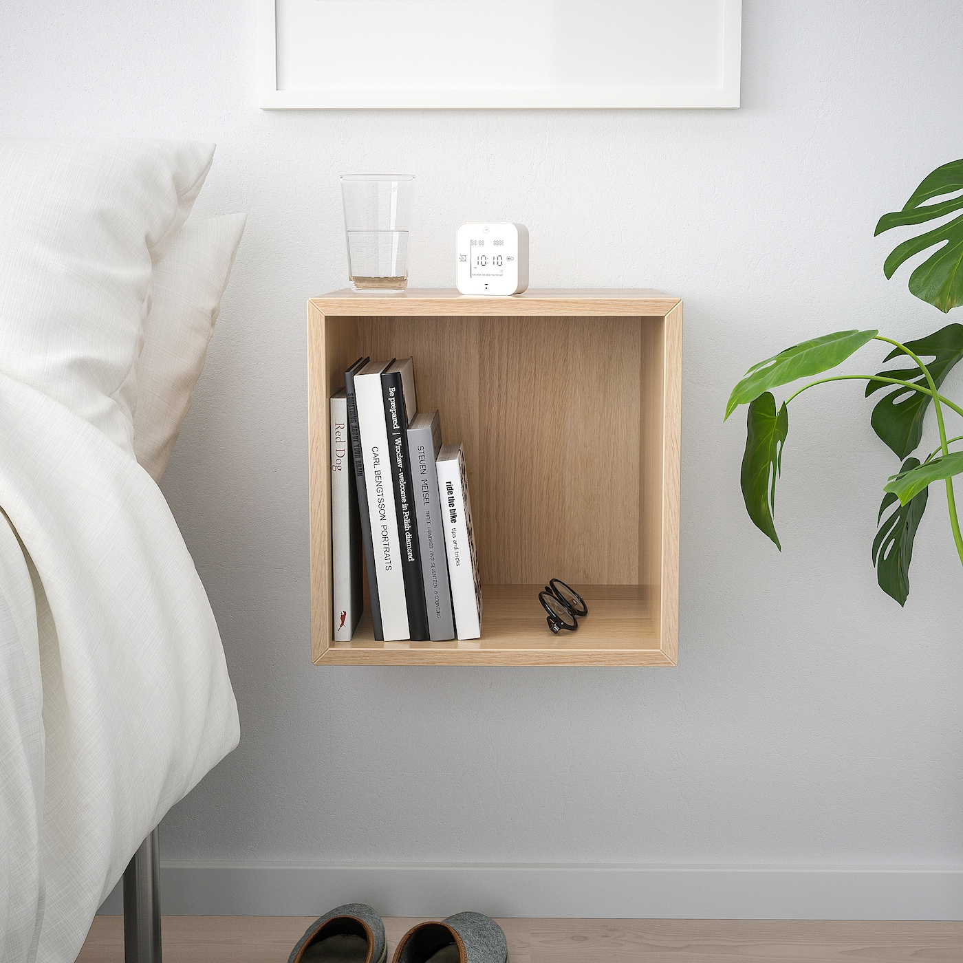 EKET Wall-mounted shelving unit, white stained oak effect, 35x35x35 cm