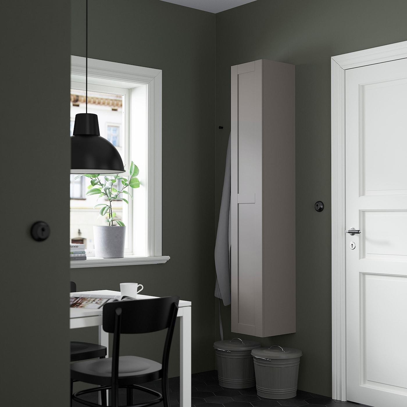ENHET Hi cb w 4 shlvs/door, grey/grey frame, 30x30x180 cm