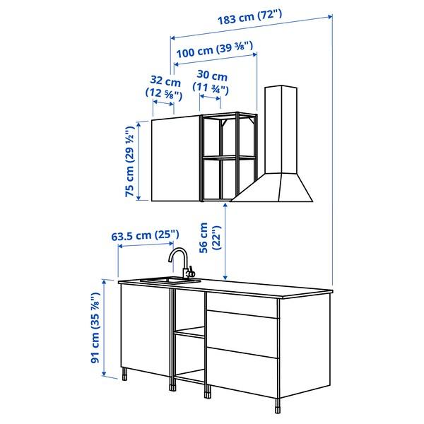 ENHET Kitchen, white, 183x63.5x222 cm