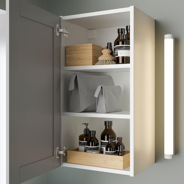 ENHET خزانة بمرآة مع 1 باب, أبيض/رمادي هيكل, 40x30x75 سم