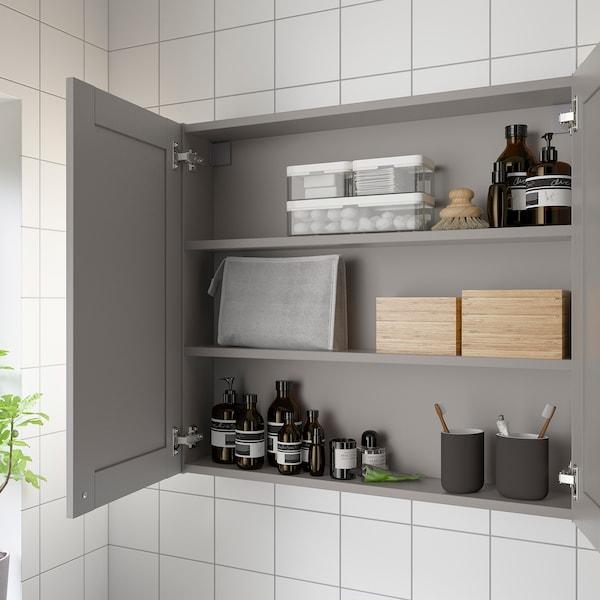 ENHET Mirror cabinet with 2 doors, grey/grey frame, 80x17x75 cm