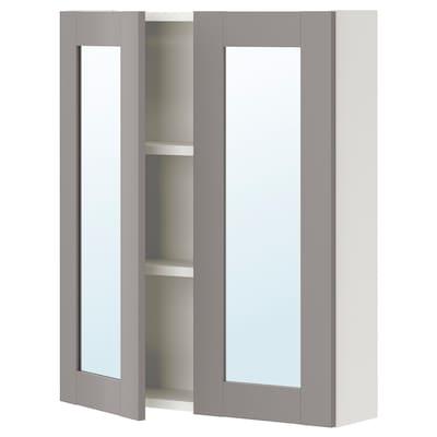 ENHET Mirror cabinet with 2 doors, white/grey frame, 60x15x75 cm