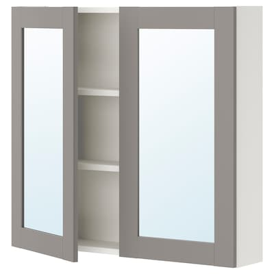 ENHET خزانة بمرآة مع بابين, أبيض/رمادي هيكل, 80x17x75 سم