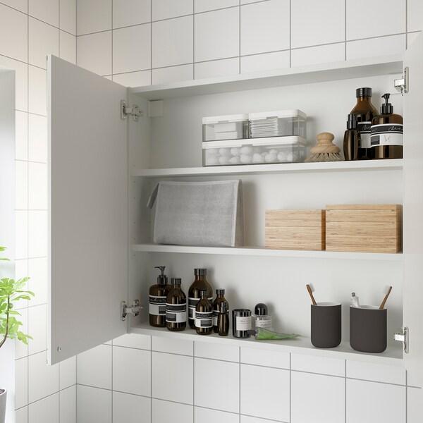 ENHET خزانة بمرآة مع بابين, أبيض, 80x15x75 سم