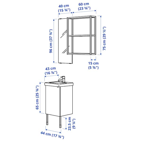 ENHET / TVÄLLEN Bathroom furniture, set of 10, white/Pilkån tap, 44x43x87 cm