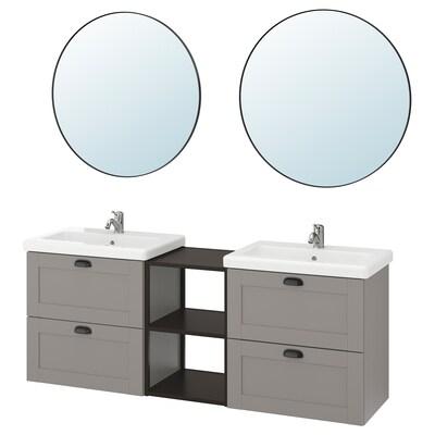 ENHET / TVÄLLEN أثاث حمام، طقم من 15, رمادي هيكل/فحمي حنفية Lillsvan, 164x43x65 سم