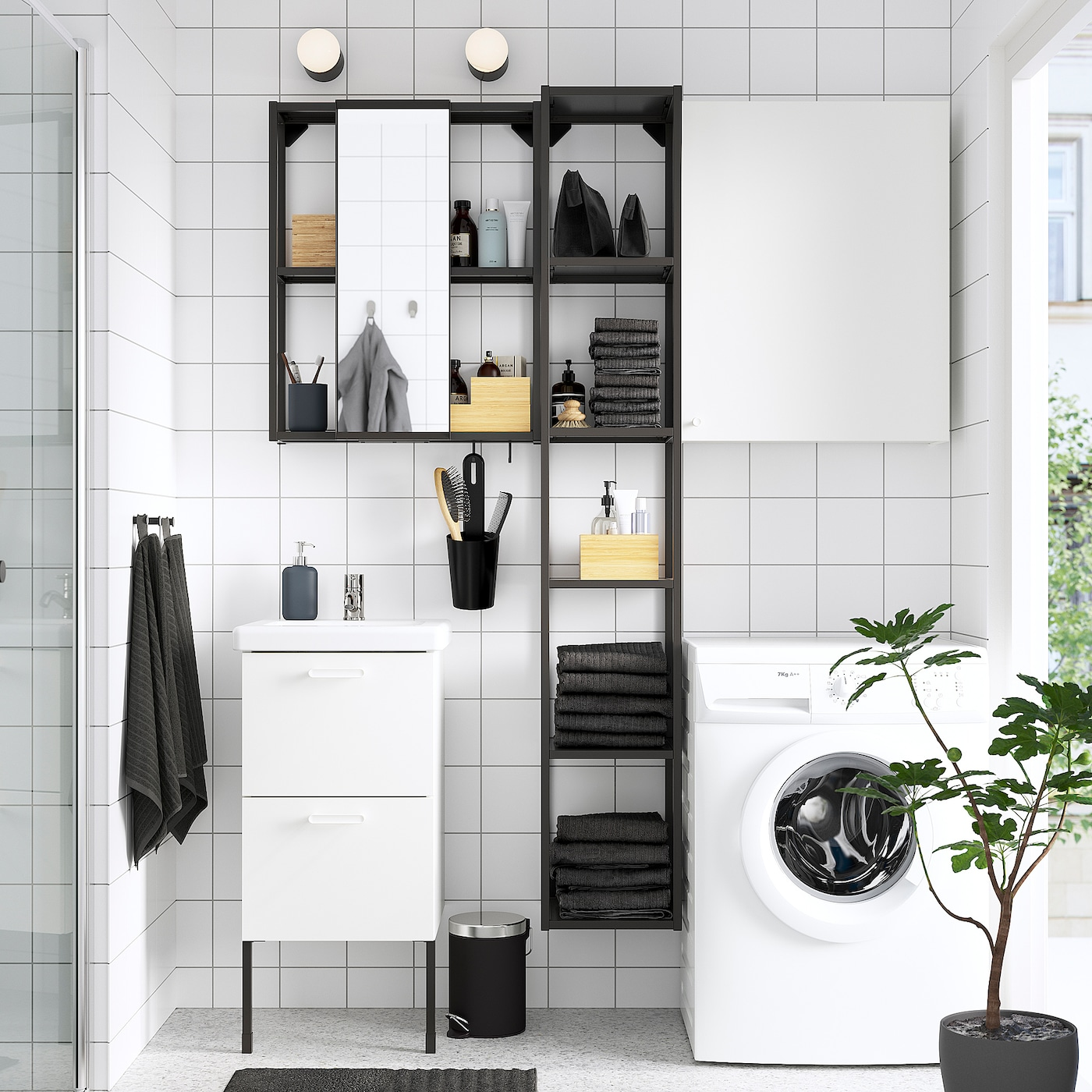 ENHET / TVÄLLEN Bathroom furniture, set of 16, white/anthracite Pilkån tap, 44x43x87 cm