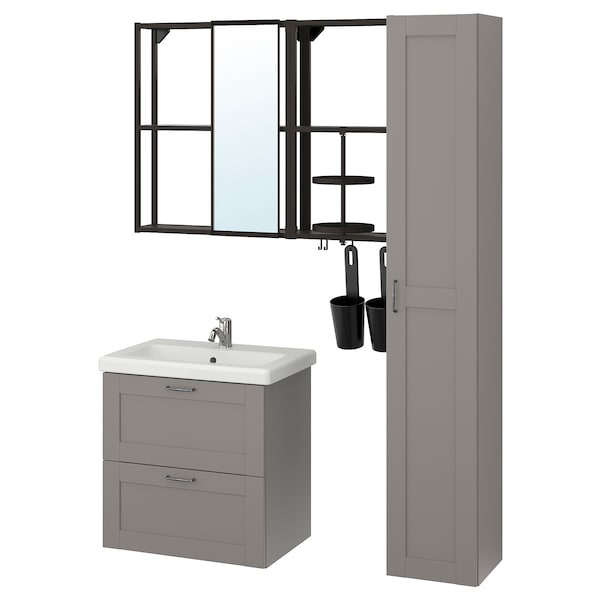 ENHET / TVÄLLEN Bathroom furniture, set of 18, grey frame/anthracite Lillsvan tap, 64x43x65 cm