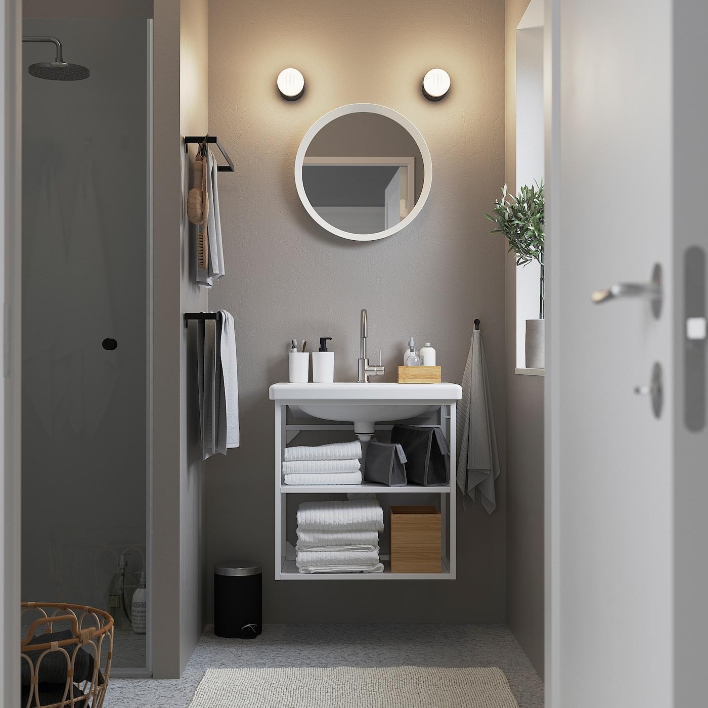 ENHET / TVÄLLEN حامل حوض مفتوح مع رفين, أبيض/حنفية Glypen, 64x43x65 سم