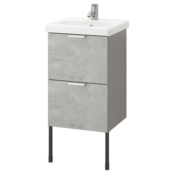 ENHET / TVÄLLEN Wash-stand with 2 drawers, concrete effect/grey Pilkån tap, 44x43x87 cm