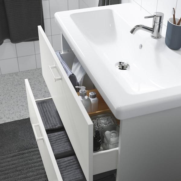 ENHET / TVÄLLEN وحدة تخزين حمام 2 درج, أبيض/حنفية Pilkån, 84x43x65 سم
