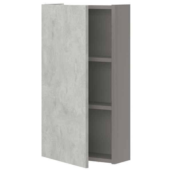 ENHET خزانة حائط مع رفين/باب, رمادي/تأثيرات ماديّة., 40x17x75 سم