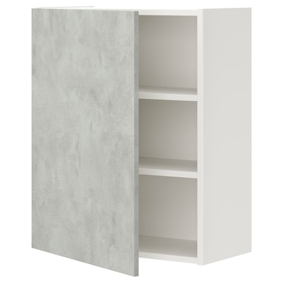 ENHET Wall cb w 2 shlvs/door, white/concrete effect, 60x30x75 cm