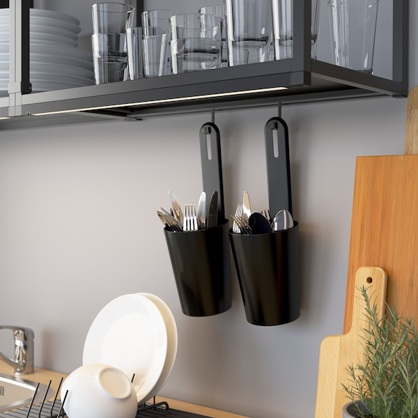 ENHET Wall fr w shelves, anthracite, 40x15x75 cm