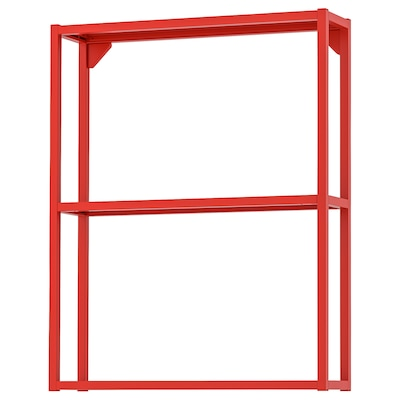 ENHET Wall fr w shelves, red-orange, 60x15x75 cm