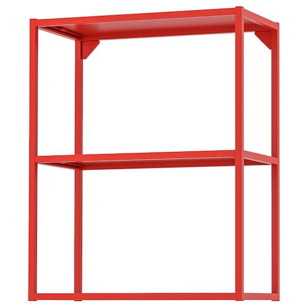 ENHET Wall fr w shelves, red-orange, 60x30x75 cm