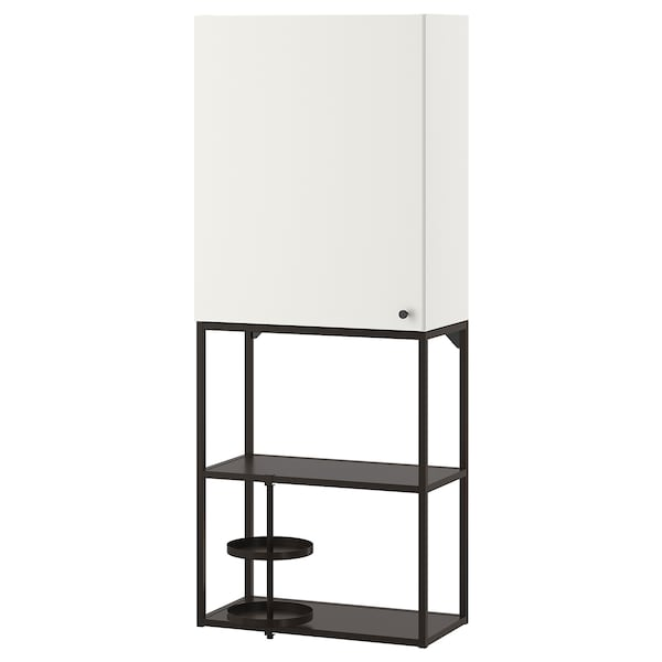 ENHET تشكيلة تخزين حائطية, فحمي/أبيض, 60x32x150 سم
