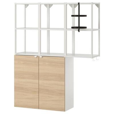 ENHET تشكيلة تخزين حائطية, أبيض/شكل السنديان, 120x30x150 سم