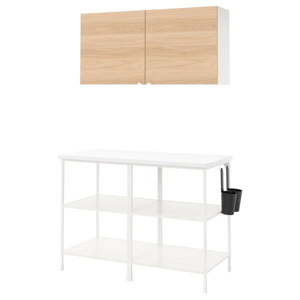 ENHET Wall storage combination, white/oak effect, 123x63.5x207 cm