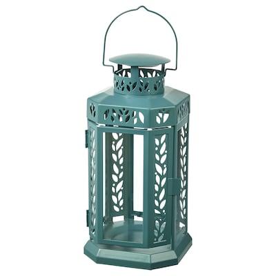 ENRUM Lantern f block candle, in/outdoor, turquoise, 28 cm