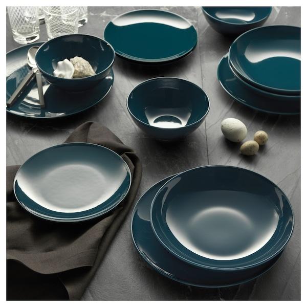 FÄRGRIK Side plate, dark turquoise, 21 cm