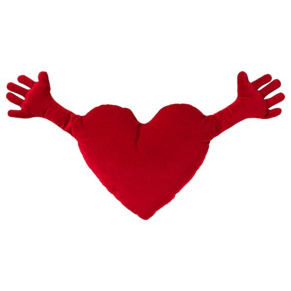 FAMNIG HJÄRTA Cushion, red, 40x101 cm