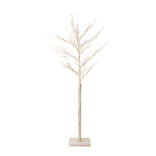 FEJKA Artificial plant with LED, battery-operated, branch white