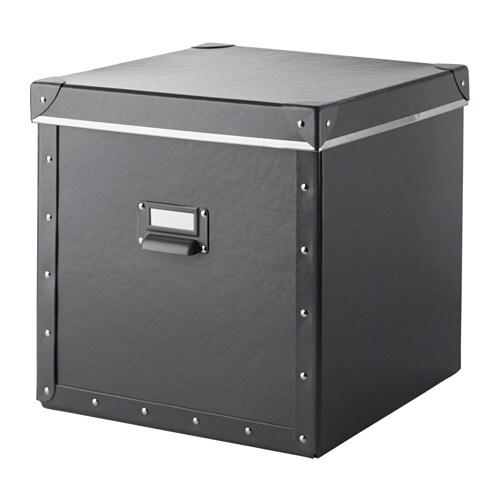 FJÄLLA Box with lid, dark grey