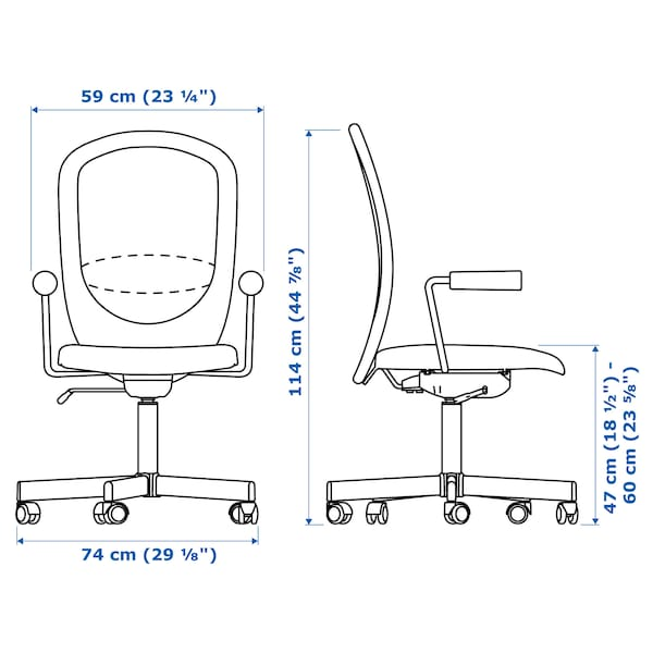 FLINTAN / NOMINELL office chair with armrests grey 110 kg 74 cm 69 cm 102 cm 114 cm 47 cm 48 cm 47 cm 60 cm