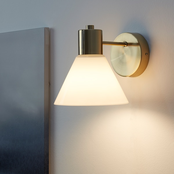 FLUGBO Wall lamp, wired-in installation, brass-colour/glass